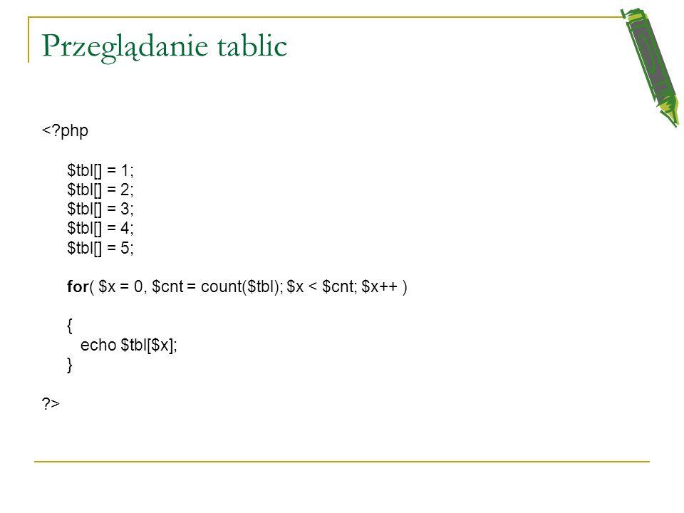 Przeglądanie tablic < php > $tbl[] = 1; $tbl[] = 2; $tbl[] = 3;